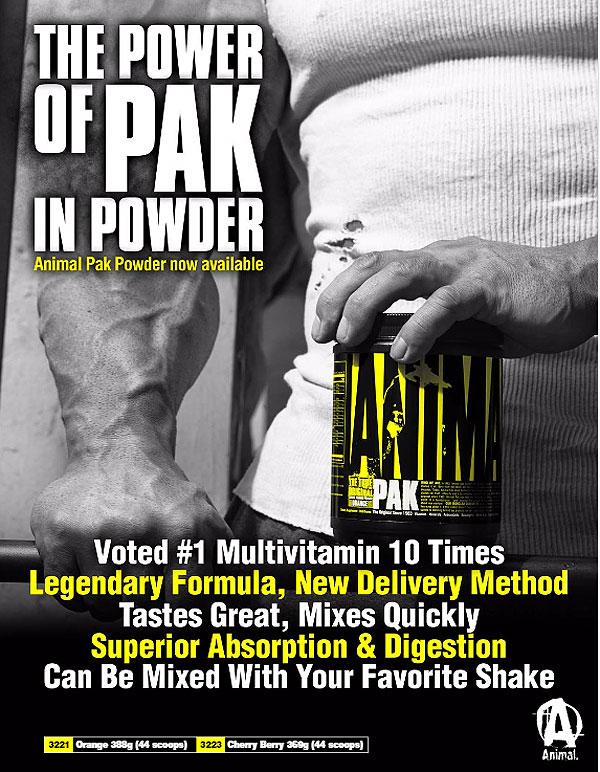 Universal Animal Pak Powder 388g   Multi-Vitamin   Supplement City